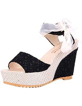 Amlaiworld Damen Schnüren Sommer Höhe Heel Slope mit Flip Flops Sandalen Schuhe