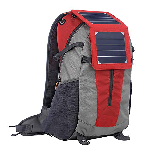 Solar Backpack-Waterproof Anti-Theft Solar Power Fast Charging Camping & Hiking Daypack mit 6,5W Solar Panel Charger für Smart Cell Phones und Tablets, GPS, Powerbank, Bluetooth Speakers,Red