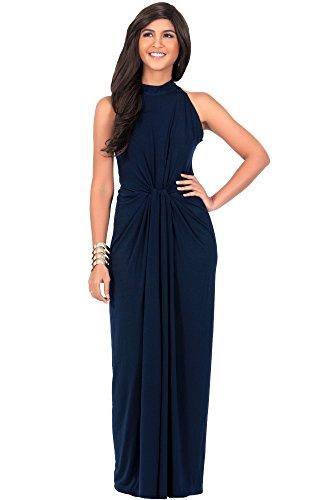 Damen Ärmelloses Maxikleid Elegante Geknöpfte Cocktail Wunderschön, Farbe Marineblau, Größe XL / Extra Large (2) (Plus Size Göttin Kostüme)