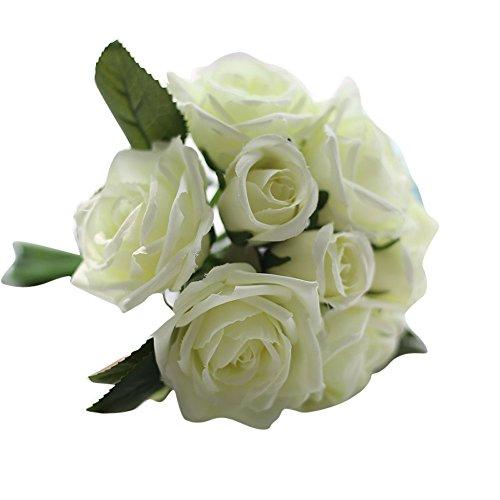 TianWlio 9 Köpfe Kunstseide Gefälschte Blumen Blatt Rose Hochzeit Blumen Dekor Bouquet