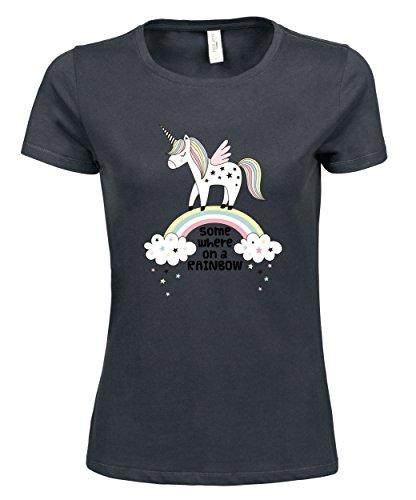 makato Damen T-Shirt Luxury Tee On A Rainbow Dark Grey