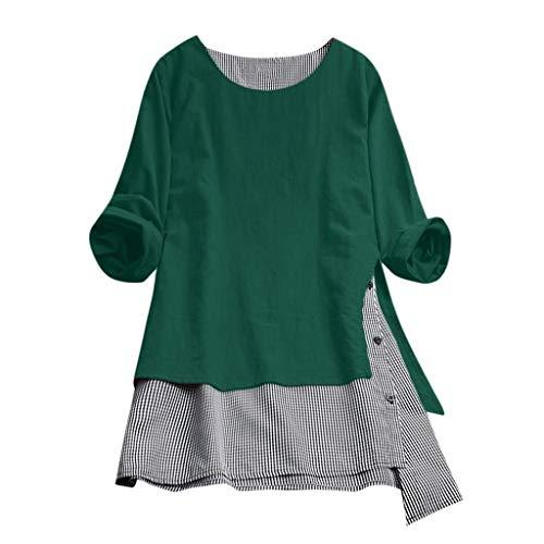 VJGOAL Damen T Shirt, Frauen Elegant Einfach Große Größen Top Sommer Mode Baumwolle und Leinen Gitter Nähen Taste Lange Ärmel Top(Grün,XL) (Frau Pimp Kostüm)