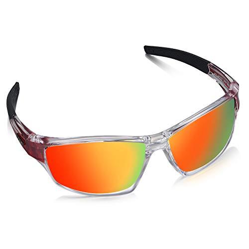 LZXC Herren Sport Polarisierte Sonnenbrille mit ultraleichtem Rahmen, UV400-Schutz zum Fahren, Radfahren - Rot Rahmen Rot Linse