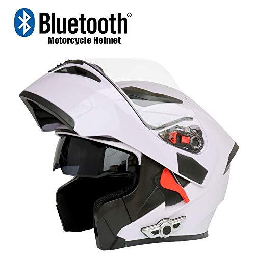 NBZH Casco De Moto Modular Moto Bluetooth Casco Estéreo Calidad De Sonido Destapado con Cuernos Y Lentes Antiniebla Modular Abatible Bluetooth Touring Cascos,White,L59CM~60CM