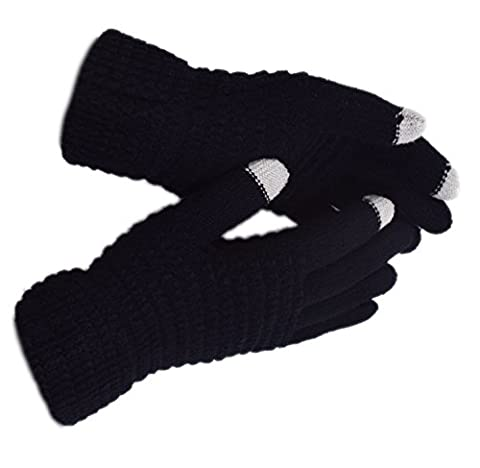 WITERY Winter Touch Screen Knitted Gloves - Thick Warm Wool Windproof Gloves Cold Proof Thermal Mittens - Ideal for Dress, Driving, Cycling, Motorcycle, Camping etc Black