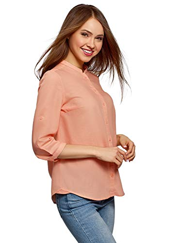 Oodji collection donna camicia in cotone con collo alla coreana, rosa, it 50 / eu 46 / xxl