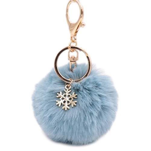 Kanggest. Cadena de Clave Pompon Pequeños Coche Llaveros Copo de Nieve Felpa Gancho Clip para Decoración del Coche/Teléfono/Bolsa Llavero de Navidad(Azul Claro)