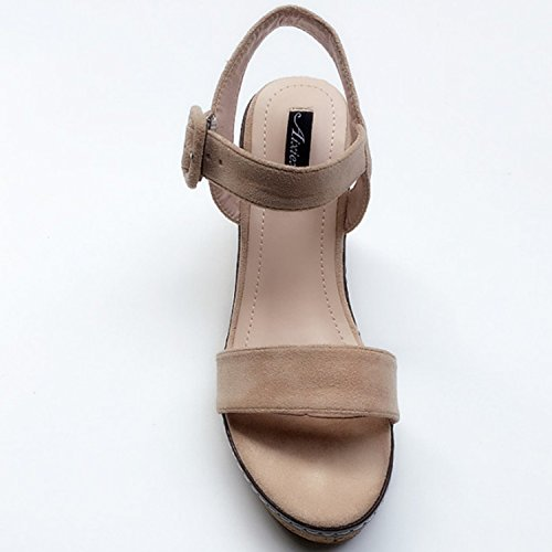 Oasap Wedge Sandals Apricot Heels Tie Open Buckle Women's Bq76rB