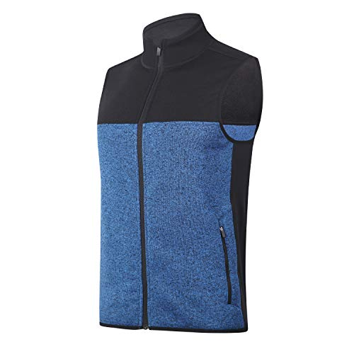 BEROY Herren Weste Jacke Full Zip Soft Sweater Fleece Weste ärmellose Jacke mit 2 Reißverschlusstaschen, Herren, Academy/Black, X-Large -