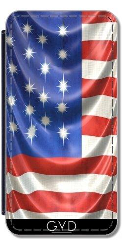 Leder Flip Case Tasche Hülle für Microsoft Lumia 930 - Drapiert American Flag by Blooming Vine Design (Drapiert Leder)