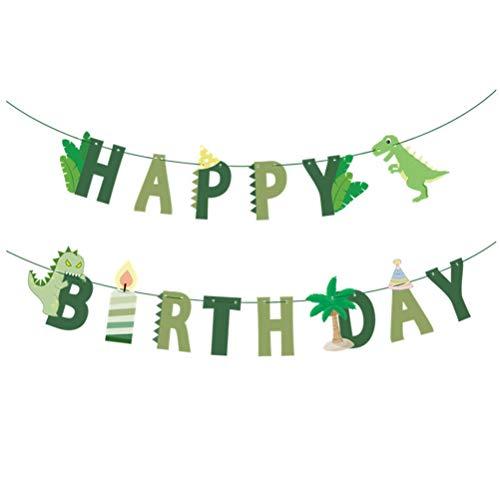 (Amosfun Happy Birthday Banner DIY Dinosaurier dekorative Girlande Girlande kreative Banner Flaggen für Geburtstag Baby Shower)