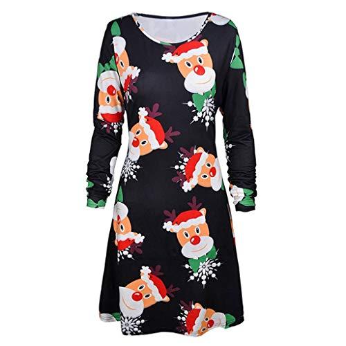 ODRD Clearance Sale [S-2XL] Weihnachten Damen Kleider Kleid MäDchen Print Langarm Abend Prom Kostüm Swing Dress Minikleid Festliche Frauen Abendkleid Spitzenkleid Elegant Vintage Bodycon Dress Party