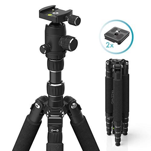 Stativ Kamerastativ für Canon Nikon Spiegelreflexkameras I Fotostativ aus leichtem Aluminium I Reisestativ inkl. Tasche I Kugelkopf, 2 Schnellwechselplatten, GoPro Adapter, Handy Adapter