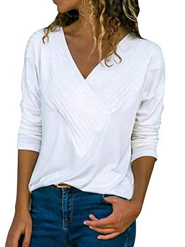 ShallGood Damen Pulli Langarm T-Shirt V-Ausschnitt Lose Bluse Langarmshirts Hemd Pullover Casual Wrap Front Sweatshirt Oberteil Basic Tops Shirts Weiß DE 50 - Reverse-plissee Hose