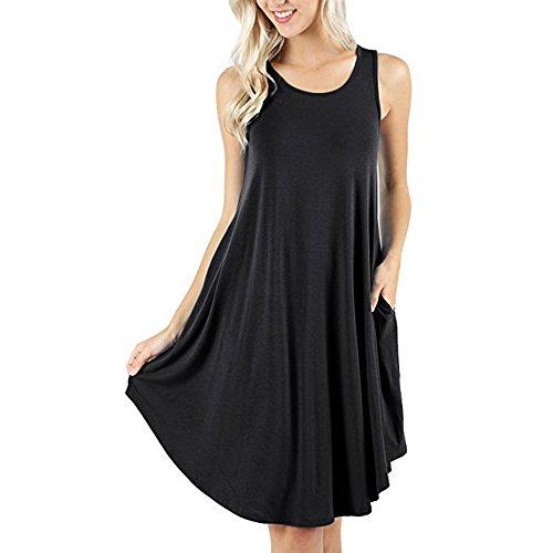 d.Stil Damen Kleid Casual Ärmellos Rundhals mit Taschen Basic Longshirt S-XXXXL (XL, Schwarz) - Baumwolle Jersey Kleid Shirt