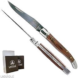 LAGUIOLE - Couteau Laguiole, manche en bois exotique, lame inox, croix du berger, lg 22cm