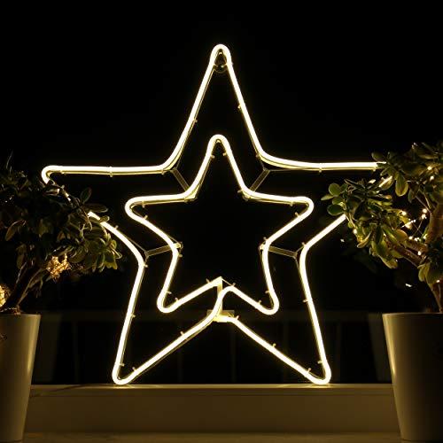 Weihnachtsdeko Fenster LED Stern Fensterbilder Weihnachten Beleuchtet Fensterdeko Hängend Fensterdekoration mit Licht Fensterbeleuchtung (WW1)