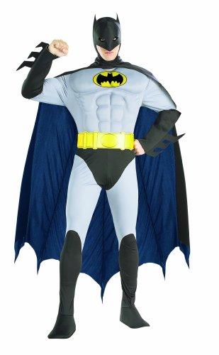 Rubie 's Offizielles 's Batman Deluxe Kostüm für Erwachsene mit Muskel Brust–Groß