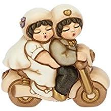 THUN Coppia di sposini (piccoli) su moto (bomboniera), ceramica, h 7,2 cm