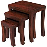 Unitek Furniture Sheesham Wood Nesting Tables Set of 3 Stools (Mahogany Finsih) Home And Office Decor Wooden Stool For Living Room Bedside Stools Furniture Wood Polish Custom Home Use Set Side Office Nested Sheesham End Table Sitting