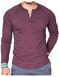 d01bca7780fe Chickwin Man Casual Shirt, Men Shirts Mandarin Collar Tee Shirt Novelty  Cotton Blouse Long Sleeve