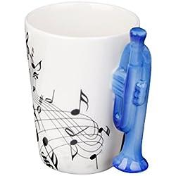 Taza de Té Copa Notas de Música Asa Mango en Forma de Trompeta Porcelana Negro Regalo