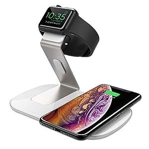 Seneo 2 en 1 Chargeur Induction Stand pour iPhoneX et iWatch, Chargeur Support Charge Qi Portable en Aluminum, pour iPhoneXS/XS Max/XR/X/8/8Plus, Galaxy S9/S9 Plus, Note 8, S7/S7 Edge et Appareil Qi