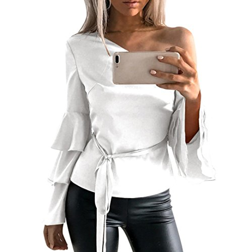 Hemd Damen Internet Herbst aus Schulter lang Lotus Ärmel Hemd lose Tops Bluse (XL, Weiß) (Rock Stricken Schwarz)