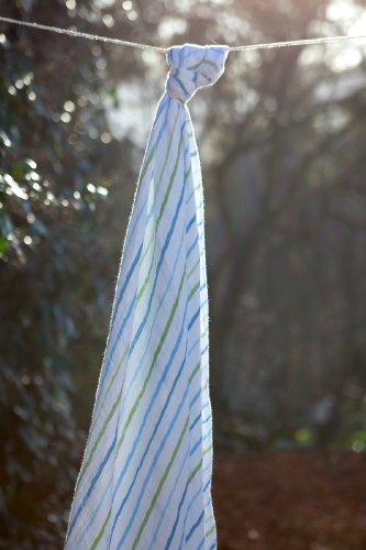 Angel Dear Musselin Einschlagdecke (blau gestreift)