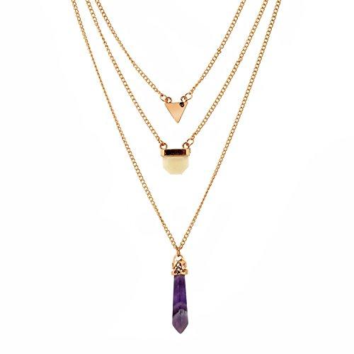 Lureme® più pendente del triangolo della catena a strati e cristallo guarigione collana naturale ametista epoca(01003378-1) oro