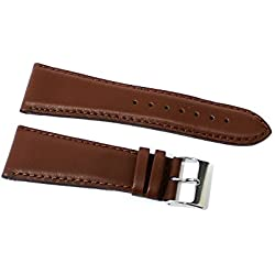 Watch Strap Genuine Leather Smooth Semi Padded Brown loopful 26mm Watch Strap