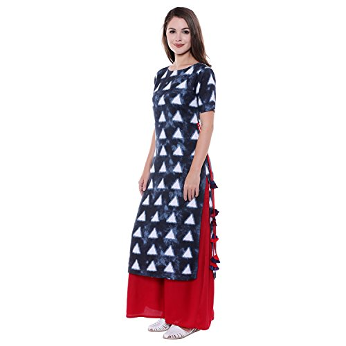 Oomph! Rayon Kurtis for Women Party Wear - Straight Kurta with Tassled Dori - Blue