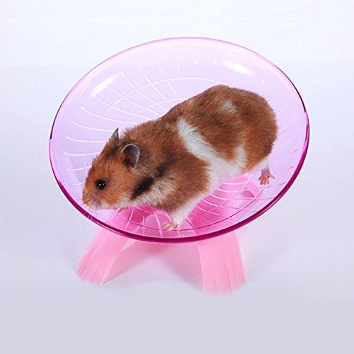 Lanlan 18cm/18cm Hamster Running Disc, Fliegen Untertasse Laufrad für kleine Haustiere, Komfort Pet Toys, rosa Untertasse Regale