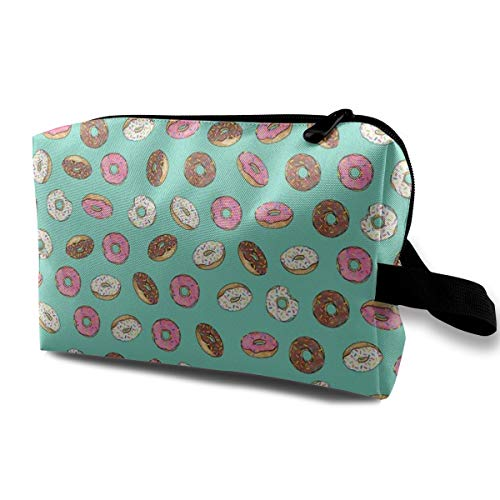 Cosmetic Bags ALL The Donuts! On Aqua_13331 Portable Travel Makeup Organizer Multifunction Case Bags for Women
