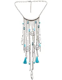 Lureme Ethnique Longue Chaîne Gland Collier with Turquoise and Filigree Rond Pendant (nl005589)