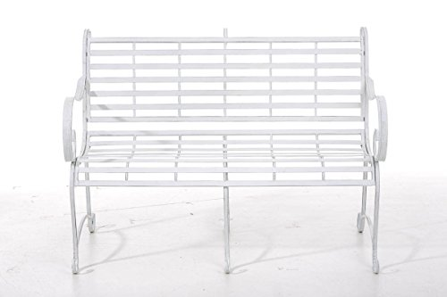 CLP Gartenbank ROY im Landhausstil, aus lackiertem Eisen, 129 x 69 cm – aus bis zu 6 Farben wählen Antik Weiß - 2