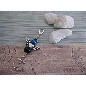 Handmade Schutzengel Anhänger/Charm Intensiv Blau/Schwarz, mit Anker Anhänger