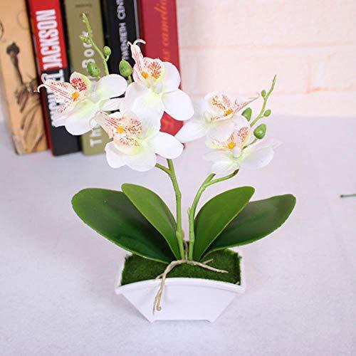 Orchideen-künstliche Blumen-Silk gefälschte Blumen-Phalaenopsis-Blumenplastik-künstliche Pflanzen für Hochzeits-Inneneinrichtung, Weiss ()