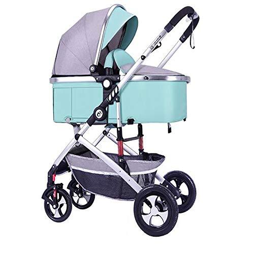 SSRS Buggy Kinderwagen Set 2 In 1 Mit Liegeposition Stoßfest 5-Punkt-Sicherheitsgurt Klein Zusammenfaltbar Ultraleicht Einhand-Faltmechanismus Babyauto Zwei-Wege-Implementierung(Minzgrün)