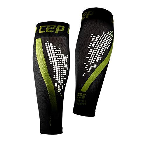 CEP - NIGHTTECH Calf Sleeve 2.0, Reflektierende Damen Beinstulpen, Stutzen für exakte Wadenkompression, Made by Medi, schwarz / grün, Size III