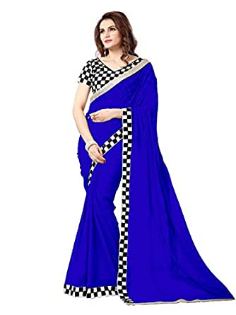 Online Fayda Women's Chiffon Saree With Blouse Piece (Of147_Royal Blue)