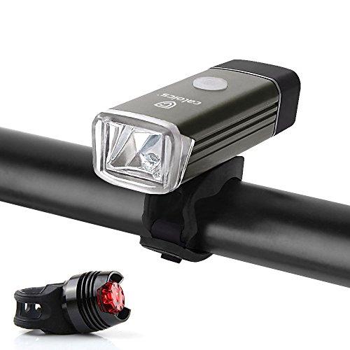 Fahrradlampe, Caloics® Wiederaufladbare LED Fahrradlampe, LED Frontlichter Frontlich und Rücklicht,Spritzwassergeschützt Einfache Montage für Sicheres Radfahren,USB Aufladbare Fahrradlichter (dunkelgrau)
