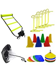 Foricx Heavy Combo Four Meter Super Speed Agility Ladder, Marker Cones, Speed Running Parachute,6 inch Hurdle & 50 Saucer Cone Football Kit