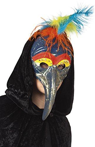 erdbeerclown- Fasching Vogelmaske mit Federn und Schnabel , (Kostüm Schnabel Nase Vogel)
