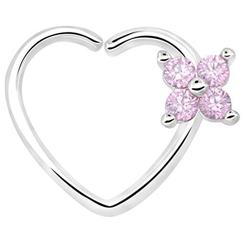 Oufer 16gauge fiore cz a forma di cuore chiusura a sinistra orecchini daith trago della cartilagine gioielli per piercing