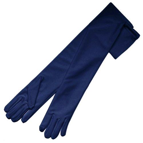 ZaZa 12BL Brauthandschuhe aus Satin, 50 cm lang, 4-Wege-Stretch, matt - Blau - Einheitsgröße -