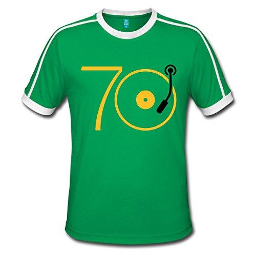 Spreadshirt Musik der 70er Platte Retro Männer Retro-T-Shirt, M, Kelly Green/Weiß (T-shirt Weiße 70)