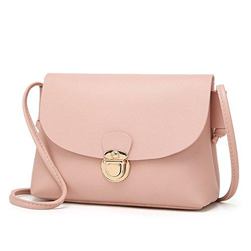 Mefly Moda Spalla Sacchetto Goffrato Crossbody Bag Verde Pink