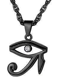 0326e8232fa7 PROSTEEL Collar de Cruz Anj Egipto y Ojo Turco Ojo de Horus Acero  Inoxidable Chapado