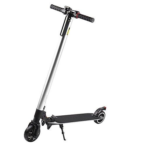 Blackpoolal Elektroscooter Elektroroller mit 6000mAh Batterie Faltbar Licht Elektro Scooter Roller Cityroller für Jugendliche und Erwachsene Höchstgeschwindigkeit bis 18 km/h 200W (Silber)